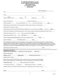 2015 St Isidore Wedding Chapel Rental Application