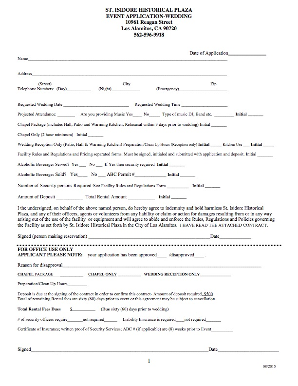 2015 St Isidore Wedding Chapel Rental Application