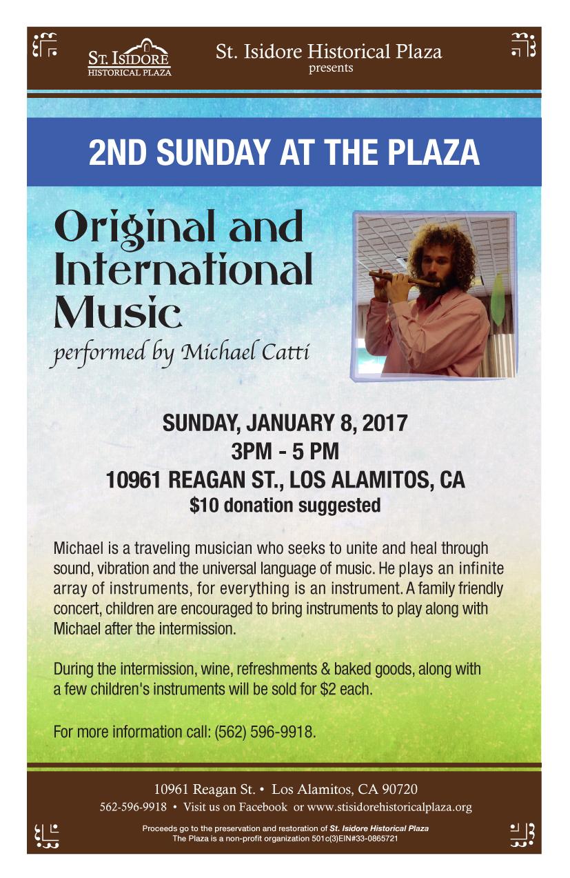 2nd Sunday Concert - January 8, 2017, 3:00-5:00pm Original and International Music